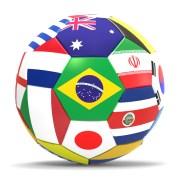 כדורגל המורכב מדגלי הנבחרות המשתתפות בטורניר אליפות העולם בכדורגל 2014 המתקיים בברזיל. איור: shutterstock