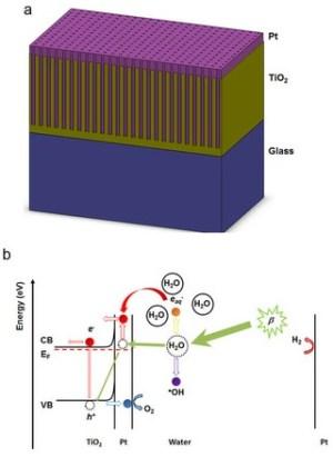 (a איור סכמטי של חתך-הרוחב של אלקטרודת דו-תחמוצת הטיטאניום הננו-נקבובית שמעליה יש ציפוי פלטינה. (b דיאגרמת אנרגיה של מבקע מים רדיוליטי המבוסס על פלזמון.
