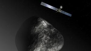 רק תחילתה של הדרך להכרת מערכת השמש. החללית רוזטה ליד השביט. הדמייה: סוכנות החלל האירופית, ESA