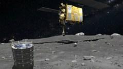 משימה מורכבת ומאתגרת. החללית והנחתת על האסטרואיד. הדמיה: סוכנות החלל היפנית JAXA