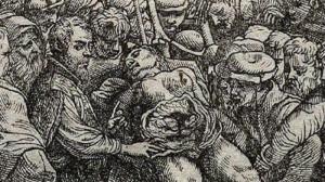 אנדראס וסאליוס מנתח גופה. שער הספר De humani corporis fabrica. צילום: וויקימדיה