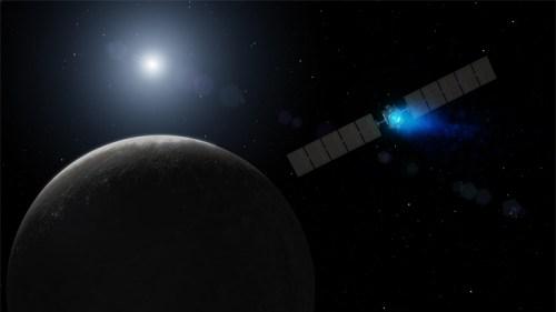 """הדמייה של החללית Dawn. צילום: נאס""""א"""