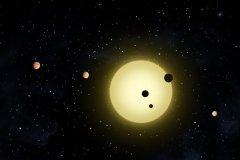 """איור אמן של מערכת השמש קפלר 11 הכוללת כוכב הדומה לשמש ושישה כוכבי לכת. טלסקופים המיועדים לחיפוש אחר כוכבי לכת מוצאים יותר ויותר עולמות בעלי סיכוי לגילוי חיים, לרבות למעלה מ-50% מכוכבי הלכת הפוטנציאליים הנמצאים באיזור החיים. המדענית הראשית של נאס"""":א אמרה כי יתגלו """"עדויות חזקות"""" לחיים מחוץ לכדור הארץ בתוך שנים לא רבות"""