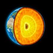 שכבות כדור הארץ - ליבה פנימית מוצקה, ליבה חיצונית נוזלית, מעטפת וקרום. איור: shutterstock