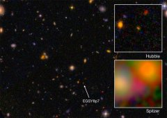הגלקסיה EGS8p7 כפי שנצפתה מטלסופ החלל האבל (התמונה הגדולה והתמונה שבצד ימין למעלה, ועל ידי טלסקופ החלל שפיצר) למטה מימין באינפרה אדום. I. Labbe, (Leiden University), NASA/ESA/JPL-Caltech