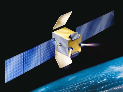 הדמייה של הלוויין עמוס E. שימו לב לנחיריים של מערכת ההינע בחלקו התחתון של הלוויין. איור: התעשייה האווירית