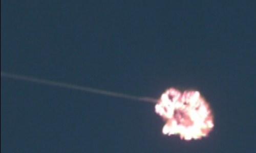 מיירט שרביט קסמים פוגע במדוייק בטיל המטרה, דצמבר 2015. צילום: מינהלת חומה של משרד הבטחון
