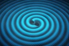 """גלי כבידה היוצאים מאירוע התמזגות שני חורים שחורים. איור: נאס""""א/JPL"""