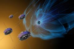 מערך לוויני MMS החוקרים את המגנטוספירה של כדור הארץ. איור: NASA/Goddard/Conceptual Image Lab