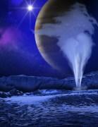 """גייזר על הירח אירופה. איור: נאס""""א"""