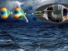 משמאל למעלה: המודים העצמיים של טיפה כפי שחושבו אנליטית. מימין למעלה: טיפת המים שנבדקה. למטה: איור אמנותי להמחשה. איור: הטכניון