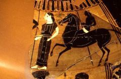 דמויות נשים מתחרות במשחקים האולימפיים ביוון העתיקה על כד עתיק. צילום: Pennsylvania Museum of Archaeology and Anthropology