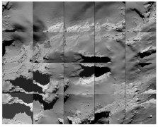 אתר נחיתת הריסוק של רוזטה על השביט כפי שצולם בדרכה של החללית אליו. הבורות מהם מבעבעים חומרים המתאדים אחר כך ומצטרפים להילת השביט מאפשרים הצצה להרכבו הפנימי של גלעין השביט. צילום: סוכנות החלל האירופית