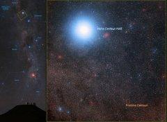 בתמונה מערכת הכוכבים הקרובה ביותר לשמש – הכוכב הכפול אלפא סטנאורי A ו-B והמלווה המרוחק שלהם - פרוקסימה קנטאורי. בסוף 2016 חתם ארגון המצפה האירופי הדרומי (ESO) על הסכם עם יוזמת Breakthrough במטרה להתאים את מכשירי הטלסקופ הגדול מאוד (VLT) לביצוע חיפוש כוכבי לכת במערכת אלפא קנטאורי. כוכבי לכת אלה יוכלו להיות מטרות עבור יוזמת Breakthrough Starshot לשיגור חלליות זעירות למערכת זו. צילום: ESO/B. Tafreshi (twanight.org)/Digitized Sky Survey 2 Acknowledgement: Davide De Martin/Mahdi Zamani