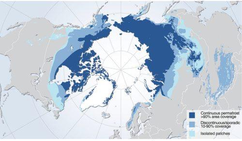 תפוצת אדמת קפאון העד בחצי הכדור הצפוני. אזור קיפאון העד בחציו הצפוני של כדור הארץ (בצבעים) מכיל על פי ההערכות 1,035 מיליארד טונות של פחמן בשלושת המטרים העליונים של האדמה הקפואה, פחמן שעלול להשתחרר אם תפשיר הקרקע ולהגביר את ההתחממות הגלובלית במידה ניכרת. קיפאון העד מכסה כמעט את כל האזורים הצפוניים ביותר. דרומה מזה, הוא מבוזר יותר, אבל גם כאן וגם כאן אזורים רבים מכילים ריכוזי פחמן גבוהים. מקור: Hugo Ahlenius, UNEP/GRID-Arendal.