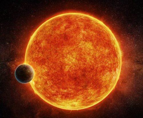 סופר כדור הארץ LHS 1140b והשמש אותה הוא מקיף. הדמיה: ESO