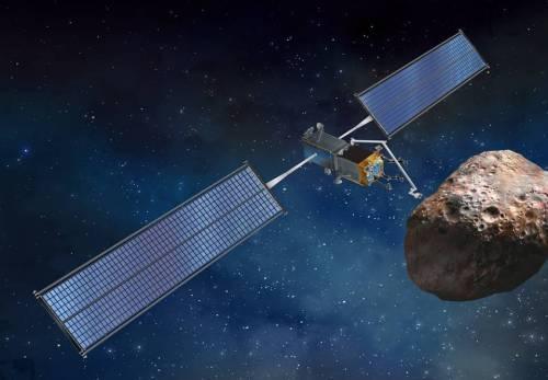 הדמייה של חללית עם הלוחות הסולאריים החדשניים ששוגו לתחנת החל על גבי חללית הדרגון. הלוחות הסולאריים הללו גמישים, ונפרשים כמו סרט מידה מתוך גליל. מקור: Space Systems Loral.