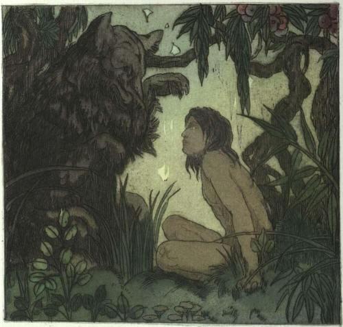 """איור של מוגלי מתוך """"ספר הג'ונגל"""", 1924. איור: Maurice de Becque."""