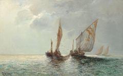 לצד התבססות ענף הדיג התפתחה בישראל הקדומה מלאכת/תעשיית שימורי דגים. איור: Lea von Littrow, c. 1914.