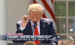 """נשיא ארה""""ב דונאלד טראמפ ממעיט בחשיבות הממצאים המדעיים באשר להתחממות כדור הארץ באירוע הפרישה מהסכם פריז. צילום מסך מתוך YOUTUBE"""