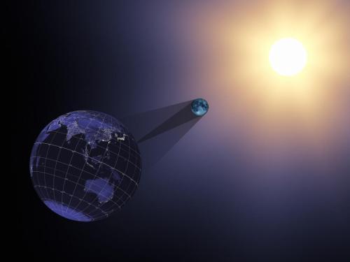 הדמייה של הירח יוצר ליקוי חמה על חלקים מכדור הארץ. מקור: NASA's Scientific Visualization Studio.