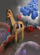 אילוסטרציה: הסוס הטרויאני מייצג את הוירוס, שנכנס לתא וגורם ליצירה של חלבונים. מטרתם לקרוא למערכת החיסונית, כך שהיא תתקוף את התא סרטני בלבד, מבלי לפגוע בתאים בריאים. מקור: באדיבות האוניברסיטה העברית.