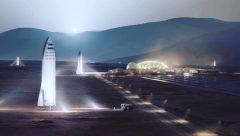 הדמייה של בסיס על מאדים, ובו מספר דגמים של ספינת הענק שאת פיתוחה אילון מאסק יוסם. מקור: Elon Musk / SpaceX.