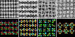 ננו-אלוטרופים של זהב במיקרוסקופ אלקטרונים חודר (למעלה) ובטומוגרפיה אלקטרונית (למטה). מקור: מגזין מכון ויצמן.