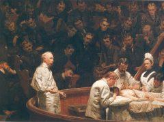 מרפאת אגניו, ציור מ-1889 מאת תומס איקינס, מתאר אולם ניתוחים אמריקני לאחר הופעת ההרדמה הכללית. מקור: Thomas Eakins.