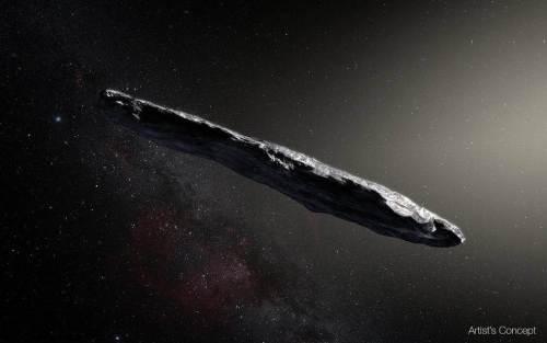 """התרשמות אמן של האסטרואיד הבינכוכבי הראשון Oumuamua, עצם ייחודי שהתגלה ב-19 באוקטובר 2017 באמצעות טלסקופ Pan-STARRS בהוואי. איור: נאס""""א"""