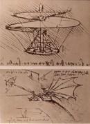 כלי התעופה שתכנן לאונרדו דה וינצ'י בהשראת הטבע. מתוך ויקיפדיה
