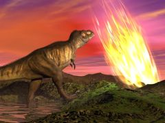 נפילת האסטרואיד והכחדת הדינוזאורים. איור: shutterstock