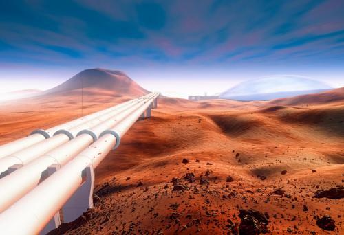 צינור מים עתידני המשרת התיישבות אנושית במאדים. איור: shutterstock