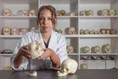 קלייר מקפאדן, חוקרת במחלקה למדעי החברה עובדת במעבדה עם גולגלות בנות 4,000 שנה. צילום: האוניברסיטה הלאומית של אוסטרליה ANU