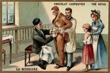 לואי פסטר מחסן אדם שננשך על-ידי כלב חולה כלבת. בצד ממתינה ילדה שננשכה לתורה. מקור: Iconographic Collections