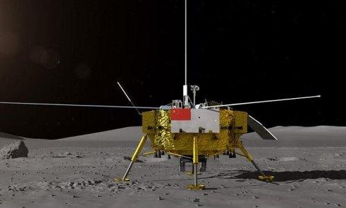 החללית CHANGE 4 על קרקע הירח. איור: האקדמיה הלאומית למדעים של סין