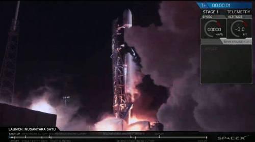 רגע השיגור של טיל פאלקון 9 ועליו החללית בראשית, 22/2/2019. צילום ספייס איקס