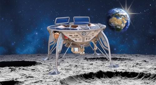 הדמיה של החללית בראשית על קרקע הירח. צילום: SpaceIL והתעשייה האווירית