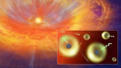 איור אמן של קילונובה שנגרמה בשל מיזוג כוכבי ניוטרון. איור: CREDIT: NAOJ