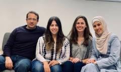 צוות החוקרים - לינה קוואסמי, מאיה בראון, עירין גוברמן וד''ר יובל טבח. צילום באדיבות ד''ר אמיליאנו כהן, האוניברסיטה העברית.