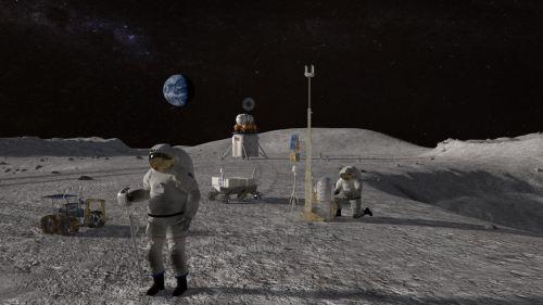 """אסטרונאוטים עתידיים על הירח במסגרת תוכנית ארטמיס. איור: נאס""""א"""