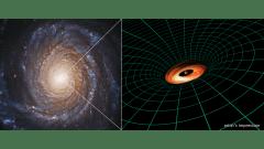 הגלקסיה NGC 3417 (משמאל).והדמיה של הדיסקה המקיפה את החור השחור הענק שבמרכזה. צילום: Hubble image: NASA, ESA