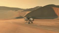 """הדמיית הדרגון פליי (שפירית) רחפן של נאס""""א שיחקור את ירחו הגדול של שבתאי טיטאן. איור: נאס""""א"""