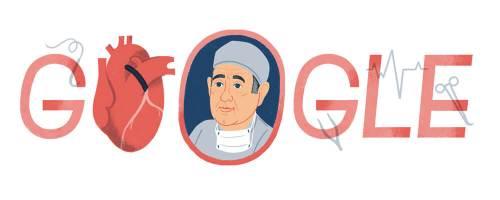 """דודל שהוציאה חברת גוגל ליום הולדתו ה-96 של ד""""ר רנה פבלרו, חלוץ ניתוחי המעקפים"""