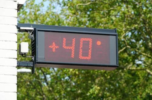 מד חום בהולנד מראה טמפרטורה של 40 מעלות צלזיוס, יולי 2019. צילום: shutterstock
