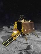 הדמייה של הנחתת ויקראם משחררת את רכב השטח במשימת צ'נאדראיאן 2. איור: סוכנות החלל ההודית