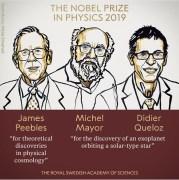 זוכי פרס נובל לפיזיקה ג'יימס פיבלס, מישל מאיור ודידיה קלו. איור: ועדת פרס נובל