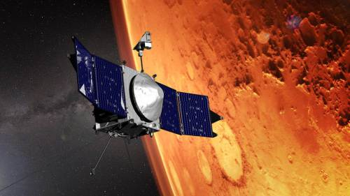 "MAVEN בקרבת מאדים. איור: נאס""א"