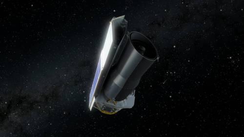 """טלסקופ החלל שפיצר במסלולו. איור: נאס""""א"""