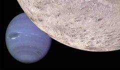 טריטון ונפטון (הדמיה). לפי ההשערות, טריטון הגיע מחוץ למערכת השמש ונלכד בשדה הכבידה של נפטון